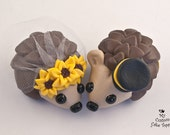 Hedgehogs Wedding Cake Topper with Sunflowers