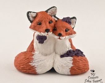 Fox in Love Custom Wedding Cake Topper