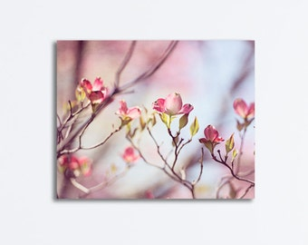 """Pink Dogwood Canvas, flower branches pastel floral light pale wall art branch print nursery photography nature decor, """"Spring Expression"""""""