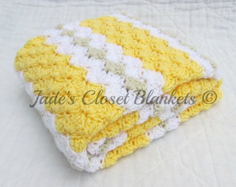 Crochet Baby Blanket, Baby Blanket, Crochet Yellow Baby Blanket, Yellow, White, and Off White, travel stroller pram size