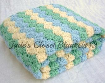 Crochet Baby Blanket, Ocean Dream, Sky Blue, Soft Sage, and Cream, crib size