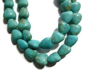 Turquoise Magnesite - Puffed Heart - 10mm x 10mm - Full Strand -  44 beads