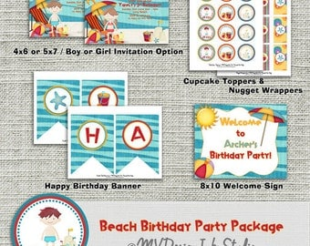 Summer Beach Birthday Party Package, Beach Birthday Party Package -Digital File You Print
