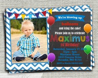 Balloons Birthday Invitation,  Up Up and Away Birthday Invitation, 1st Birthday Balloons Party Invitation-Printable DIY