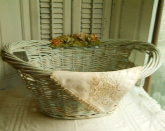Wicker Laundry Basket With Antique Millinery Flowers and Vintage Lace Napkin Nursery Basket Wedding Card Basket Baby Shower Basket Laundry