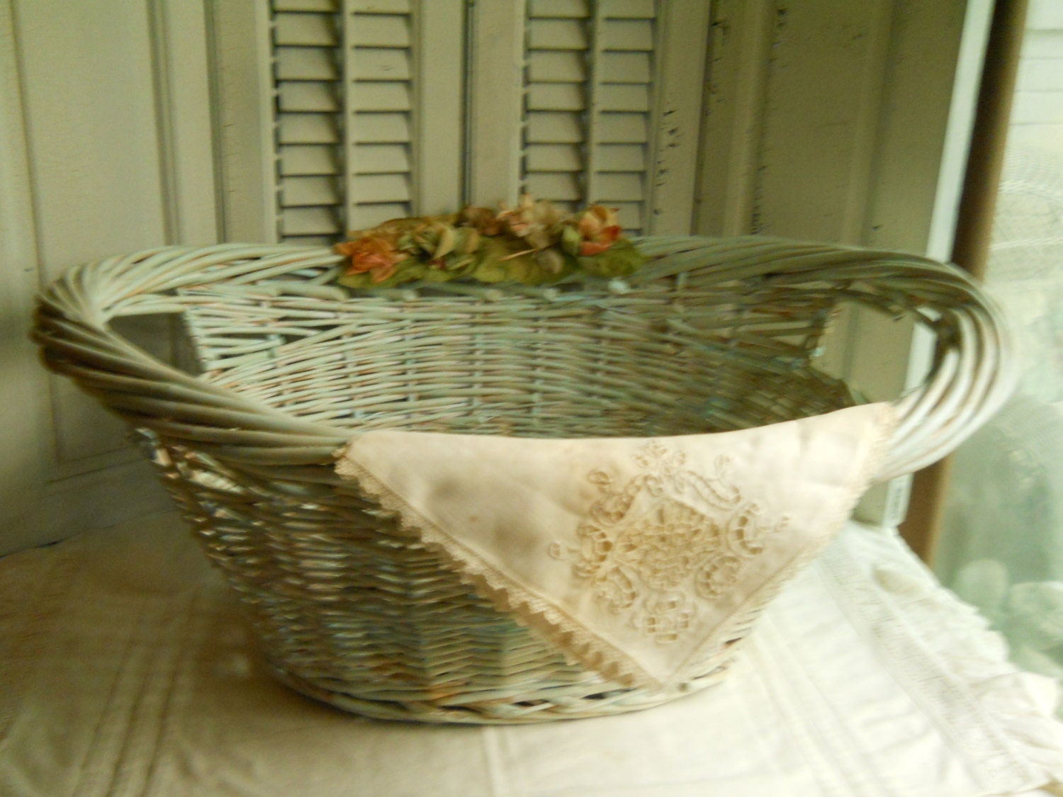 Wicker Laundry Basket With Antique Millinery Flowers And