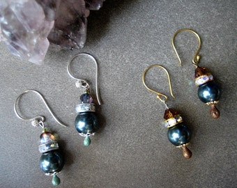 Tahitian Blue~ Art Deco Pearl, Crystal Vintage, Dangle Earrings- Crystal Pearl, Sterling Silver, FREE Shipping