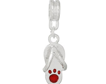 Paw Flip Flop Red Dangle Charm   b107