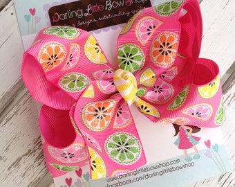 Lemonade bow -- Pretty Pink Lemonade -- Large hairbow with optional headband -- hot pink, pink, yellow, lime and orange sparkly ribbon