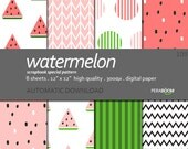 "Digital Paper + Watermelon 108  + Scrapbook Quality Paper Pack  (12 x 12""- 300 dpi)   8 sheet pack paper  + Instant Download +"