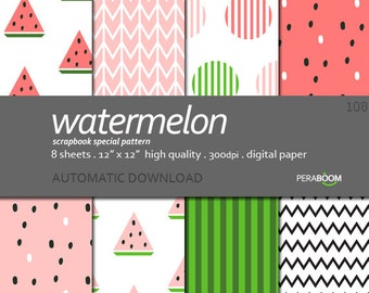 "Watermelon digital paper, Watermelon background, Digital background, Pink Green, Quality pack 8 sheets 12""x12"", Printable, Fruit, Summertime"