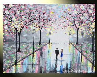 "GICLEE PRINT Art Abstract Painting Couple LARGE Canvas Prints Pink Cherry Trees Blossoms Romantic Grey Wall Decor Sizes to 60"" - Christine"