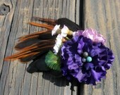 Feather Hair Clip - Women - Festivals - Weddings - Purple - Rooster