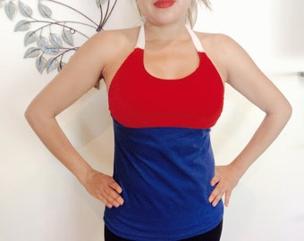 Women's custom diy 4th of July Patriotic Red White and Blue halter top tshirt top
