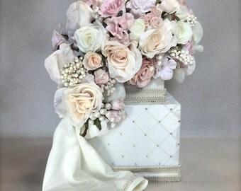 Wedding Card Box Pastel Bouquet Wedding Card Holder, Wedding Card Box, Custom Card Box, Handmade, Gift Card Boxes,  Wedding Gift Box