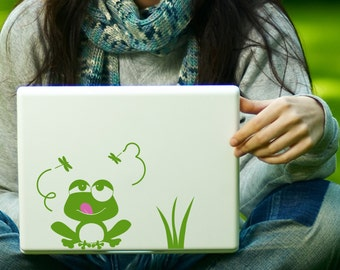 Frog and Dragonflies Decal Laptop Decal iPad