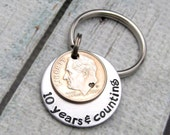 10th Wedding Anniversary Gift - Personalized Keychain - 10 Years & Counting Hand Stamped Keychain - Mens Anniversary - Traditional Aluminum