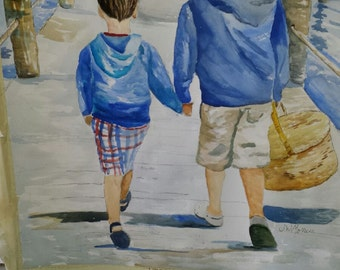 Original Watercolor Portrait.  Grandchildren.  Wedding.  Special Place.  Wedding Venue.  Family Vacation