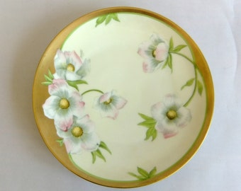 Vintage Hand Painted Porcelain Plate - Pink Dogwood Blossoms, Bavaria Germany, Yellow, Gilt Gold, Fine China, Collectible, signed Meunier