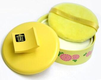 Hana Gasa, dusting powder, body powder, Avon, 6 oz, unopened,  puff, vintage bath, perfume toilette, yellow, green, pink