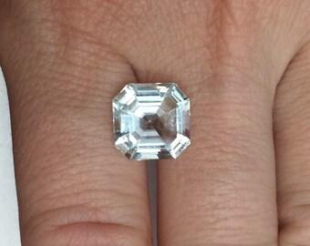 Engagement Ring pale ice Blue Aquamarine Gemstone, Asscher cut 3.42 carats Square Octagon, diamond alternative