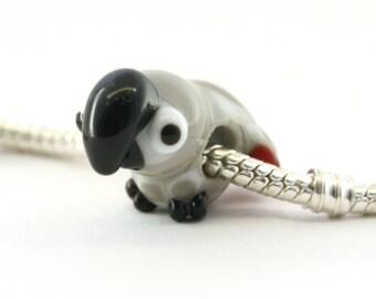 African grey parrot BHB big hole bead for european bracelet Glass lampwork African grey parrot / bird