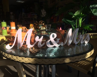 WhITE Mr.. and.. Mrs... sign set. Glitter Mr Mrs signs. Wedding signs wooden letters for sweetheart table decor. Wedding signs Mrs and Mr