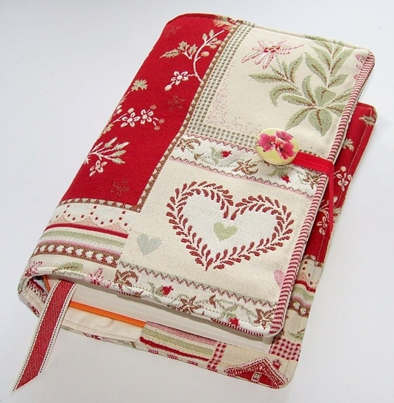 Large Cloth Book Covers ~ Large bible or book cover in swiss alpine meadow fabric