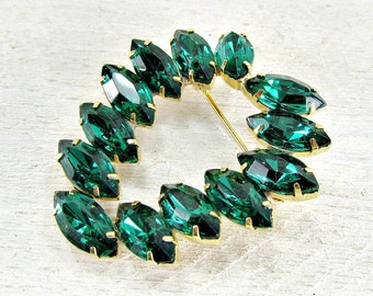 Vintage Emerald Green Rhinestone Brooch Pin, Navette Rhinestone Brooch Pin, Heart Brooch Pin, 1960s High-End Vintage Costume Jewelry