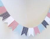 Nautical Flag Garland / Nautical Birthday Decorations / Large flag bunting / Ahoy It's a Boy Decor / Baby Shower decor