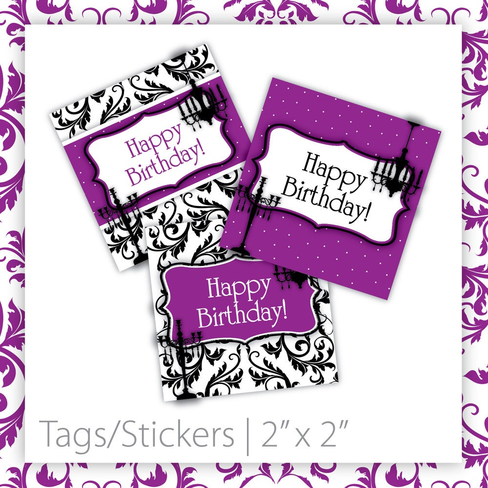 Birthday Party Tags/Stickers Classic Damask . Purple HAPPY