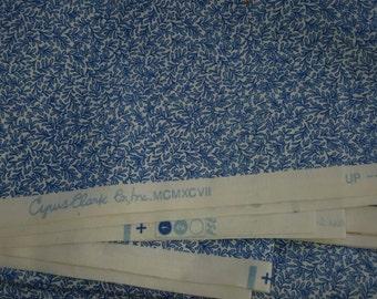 Fabric Blue Micro Print Leaf Cyrus Clark Decorator Cotton Remnant Out Of Print Fabrics by AntiquesandVaria