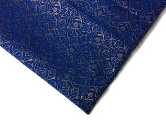 Fat quarter Royal Blue and Gold  Indian silk brocade fabric