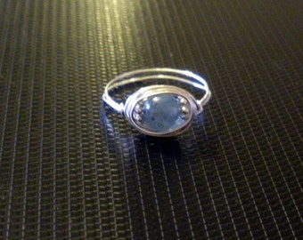 Blue Kyanite wire wrapped ring you choose size hedgewitch pagan
