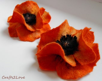 Orange Poppy. Felted wool flower, brooch, pin,  felt poppy, wool and leather.