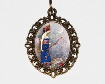 Warrior Queen Necklace, Warwick Goble, Huntress, Queen Zenobia, Goddess Jewelry, Oval Pendant