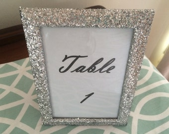 Glitter Wedding Set of (10) 5 x 7 Frames Covered in Silver Glitter Table Number Frames