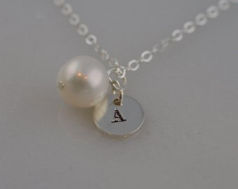 Custom Sterling Silver Pearl Initial Necklace - Freshwater Pearl Bridesmaid Necklace -ONE