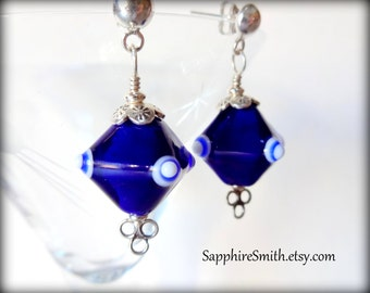 Cobalt Blue & White Artisan Lampwork Glass, Hill Tribe Fine Silver, Bali Post Earrings