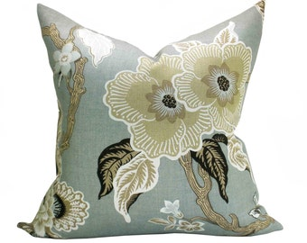 Schumacher Hothouse Flowers pillow cover in Mineral