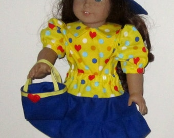 "Bright Yellow Royal Blue Red 4 Piece Set - Skirt Purse Hat Blouse Fits American Girl Dolls or Similar 18"" Doll"