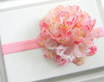 Pink Floral Chiffon Flower Headband, Baby Headband, Infant Headband