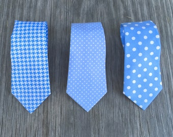 Periwinkle Neck Ties - Blue Ties for Boys - Blue Tie for Men - Periwinkle Ties - Houndstooth Ties - Matching Groomsmen Ties - Cotton Ties