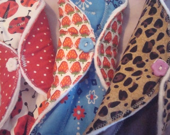Handmade washable cloth moonpads/sanitary pads, size regular x 3 ( funky prints)