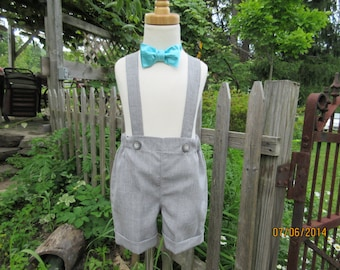 Boys gray shorts, boys suspender shorts with cuffs, ring bearer shorts,available to order 12m,18m 2t, 3t 4t, 5t