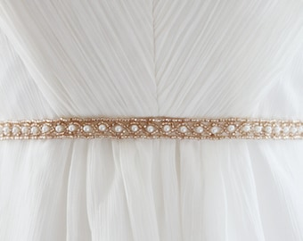 CAYLEY - Beaded Pearl Bridal Sash in Champange