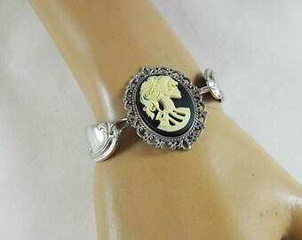 Sliver Lolita Cameo Bracelet,    Gothic Recycled Spoon Bracelet  Womens Gift Handmade