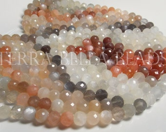Full 10 inch strand MULTI COLOR MOONSTONE faceted gem stone round beads 7.5mm - 8mm grey orange