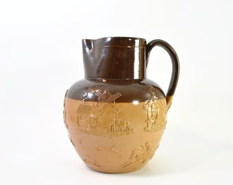 Vintage/Antique Doulton Lambeth England Large Ceramic Pitcher // Vintage Saltglaze Pitcher/Jug