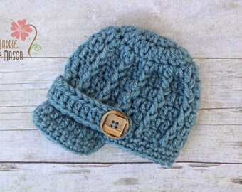 RUSH READY to SHIP - Adorable Little Man Newsboy Cap in Dusty Blue, Newborn Photography Prop